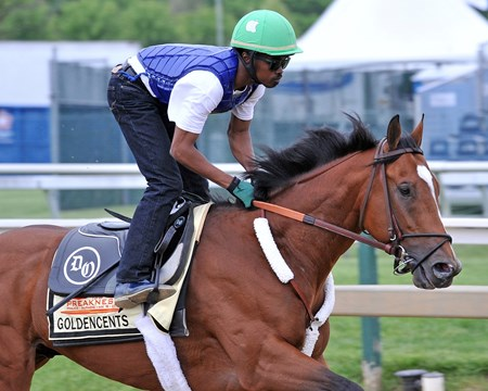 Goldencents and jockey Kevin Krigger, at Pimlico Thursday morning...