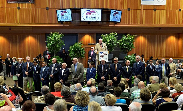 Present members of the Hall of Fame are introduced Aug. 9, 2013 during the National Museum and Racing Hall of Fame induction ceremony in Saratoga Springs, N.Y.       (Skip Dickstein