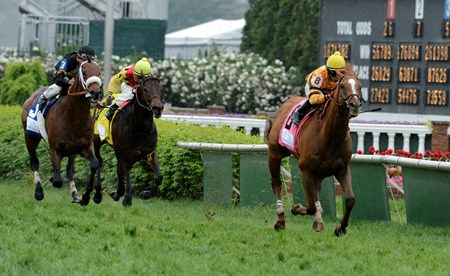 Wise Dan with jockey Jose Lezcano in the irons wins the 27th running of The Woodford Reserve Turf Classic at Churchill Downs in Louisville, Kentucky May 3, 2013.