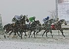 Snowy weather during racing at Parx Racing.