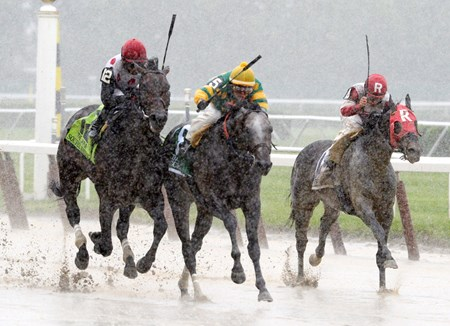 Souper Speedy ridden by jockey Jose Lezcano left was placed first after a claim of foul on #5 Big Screen ridden by Irad Ortiz Jr. in the 30th running of The Jaipur Stakes at Belmont Park in Elmont, N.Y.