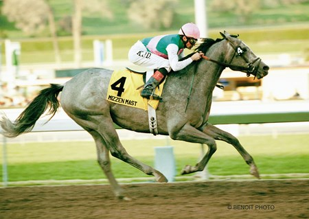 Kent Desormeaux guides Mizzen Mast to a 4-length victory in the $400,000 Strub Stakes (gr. IIT) Saturday, Feb. 2, 2002 at Santa Anita Park.