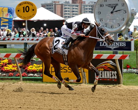 Happy My Way with Joe Bravo wins the Maryland Sprint Handicap (gr. III) at Pimlico on May 17, 2014 in Baltimore, Md.