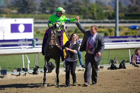 Javier Castellano celebrates winning the Breeders' Cup Juvenile Fillies (gr. I) atop Ria Antonia.