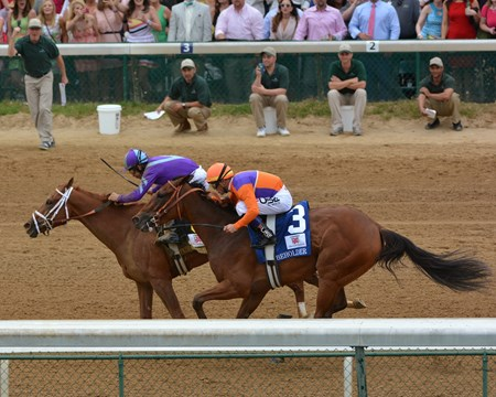 Princess Of Sylmar defeated Beholder by a half-length to win the 2013 Kentucky Oaks.