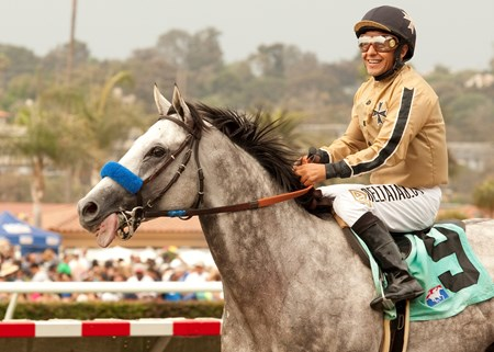 Cicero Farms' He Be Fire N Ice and Victor Espinoza win the $150,000 California Dreamin' Handicap Sunday,  July 21, 2013 at Del Mar Thoroughbred Club, Del Mar, CA.