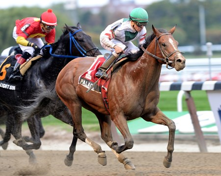 Palace captures the Hudson Handicap at Belmont Park.