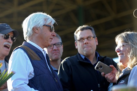 Caption:  Bob Baffert and media