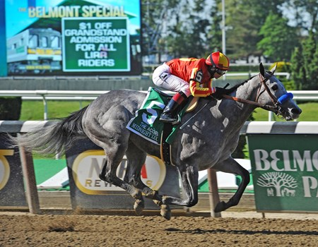 Midnight Lucky, Rosie Napravnik up, wins the 83rd running, of the Gr.1 Acorn at Belmont Park... © 2013 Rick Samuels/The Blood-Horse