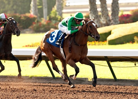 La Grange and jockey Kent Desormeaux win the $100,000 TVG Cinderella Stakes at Los Alamitos Race Course.