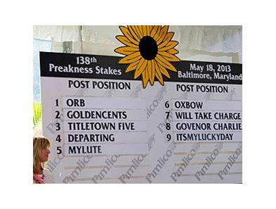 "Kentucky Derby winner Orb drew the rail in the Preakness.<br><a target=""blank"" href=""http://photos.bloodhorse.com/TripleCrown/2013-Triple-Crown/Preakness-Stakes-138/29423277_98XmS6#!i=2514659564&k=khdnmSw"">Order This Photo</a>"