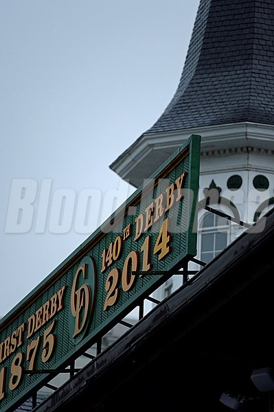 Caption: Twin Spires and Kentucky Derby sign
