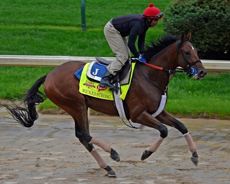 Caption: Wicked Strong on the track between downpours.