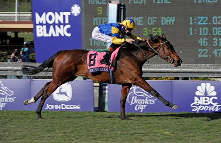 Chriselliam captures the Breeders' Cup Juvenile Fillies Turf.