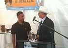 Jockey Rodolfo Arvizu, who assisted fellow rider Anne Von Rosen after a racing accident earlier this year at Turf Paradise, was presented with the 2014 White Horse Award by the Race Track Chaplaincy of America Oct. 30.