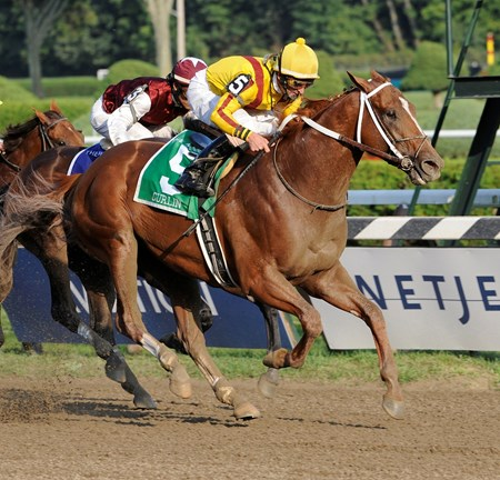 Curlin with jockey Robby Albarado in the irons conquered a field of six other horses to win the 55th running of The Woodward Stakes on August 30, 2008.
