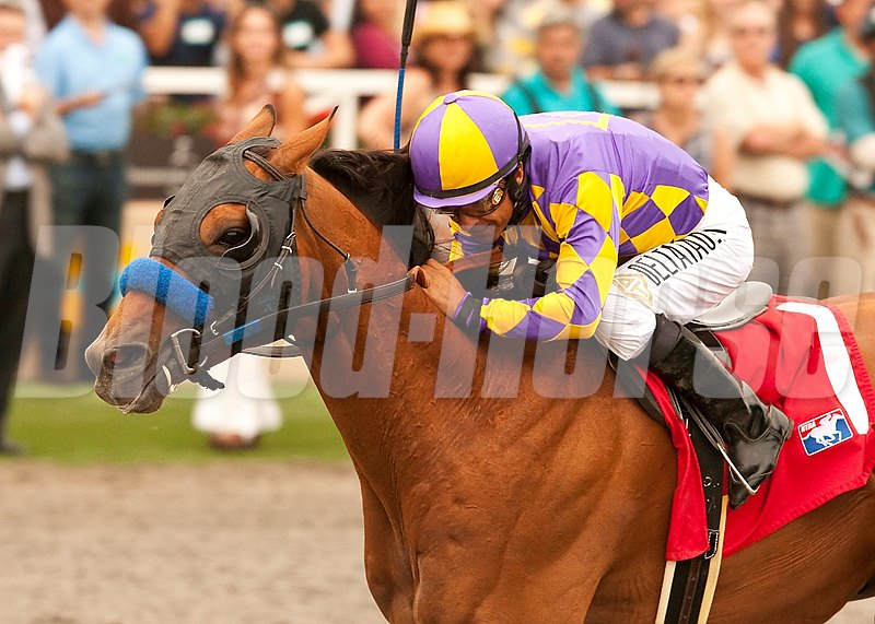 Kettle Corn and jockey Victor Espinoza win the Grade II, $250,000 San Diego Handicap, Saturday, July 27, 2013 at Del Mar Thorougbred Club, Del Mar CA. © BENOIT PHOTO