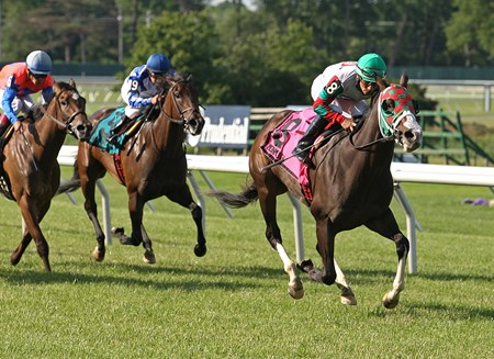 Ju Ju Eyeballs #8 with Paco Lopez riding won the $60,000 Crank It Up Stakes at Monmouth Park.