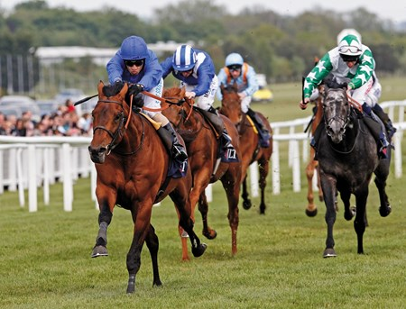 The JLT Lockinge Stakes was won by Farhh ridden by Silvestre De Souza with Sovereign Debt (right) and Almarheer (obscured) at Newbury in Europe.