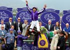 Frankie Dettori's famous dismount after his victory.