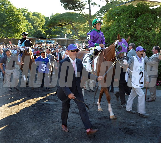 Jockey Victor Espinoza sits atop California Chrome as the field leaves the paddock and heads towards the starting gate for the 146th Belmont Stakes Saturday evening June 7, 2014 at Belmont Park in Elmont, N.Y.