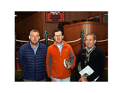 Representing Don Alberto Corp. at the Keeneland November Breeding Stock Sale from left are: Carlos Heller, Roberto Navarrete and Fernando Diaz-Valdes.
