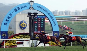 Able Friend #3 ridden by Joao Moreira and trained by John Moore held off the late challenge of its stablemate Designs On Rome #2 to win the 2014 Hong Kong Classic Mile (HKG1 1600m), first leg of the season's Four-Year-Old Series, at Sha Tin Racecourse.