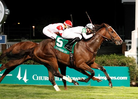 WinStar Farm's General Election captured his second graded stakes with a come-from-behind victory in the $110,400 Jefferson Cup (gr. IIIT) for 3-year-olds at Churchill Downs Sept. 28.