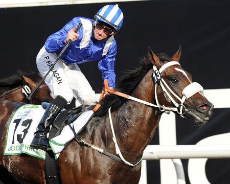 Soft Falling Rain wins the Godolphin Mile at Meydan.