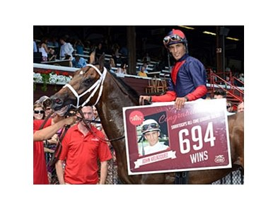 It's 694 wins at Saratoga for John Velazquez. 