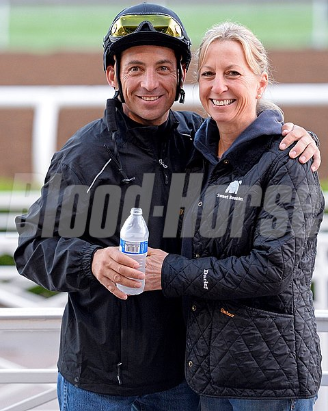Aaron Gryer and ?? on Oct. 26, 2014, at Santa Anita in preparation for the Breeders' Cup.