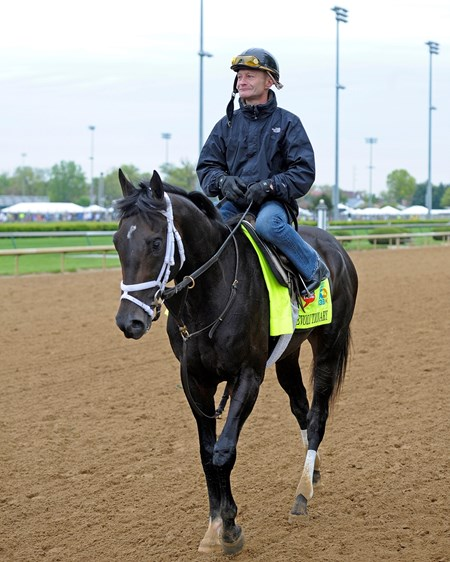 Caption: Calvin Borel on Revolutionary returns to barn after work