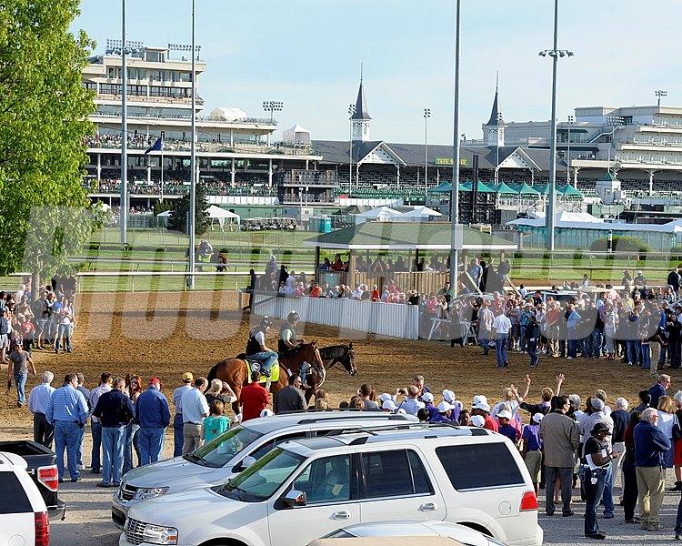 Caption:  Backstretch scene/Goldencents