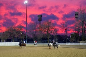 Beautiful sunset at Hawthorne Racecourse in Illinois.