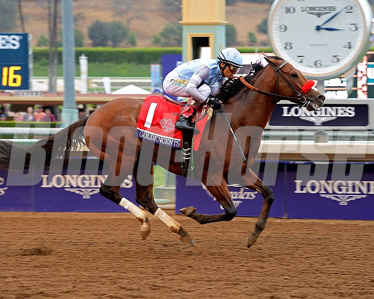 Goldencents wins the Breeders' Cup Dirt Mile (gr. I), at Santa Anita Park in 2014.