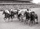Ta Wee (inside) and jockey John L. Rotz leads the furious charge before winning the 1969 Vosburgh Handicap.