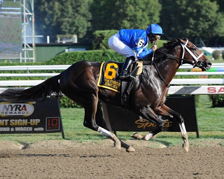 Emcee wins the Forego Stakes (gr. 1)