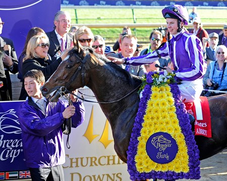 St Nicholas Abbey and Joseph O'Brien enter the winner's circle following the Breeders' Cup Turf.