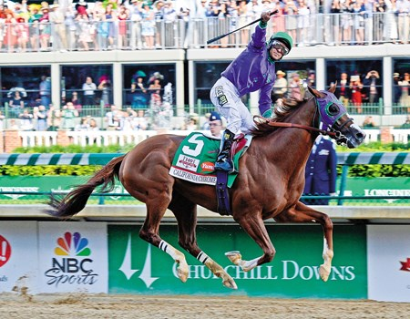Caption: California Chrome with Victor Espinoza wins the Kentucky Derby (gr. I) at Churchill Downs in Louisville, Ky., on May 3, 2014.