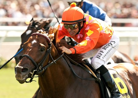 Tom's Tribute became a grade I winner when he held even-money favorite Summer Front safe through the homestretch to register a 1 1/4-length victory in the $300,000 Grade I Eddie Read Stakes on the Del Mar turf.