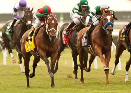 Jeranimo and jockey Rafael Bejarano, left, outleg Vagabond Shoes, right, to win the Grade I $300,000 Eddie Read Stakes at Del Mar Thoroughbred Club in Del Mar, CA.