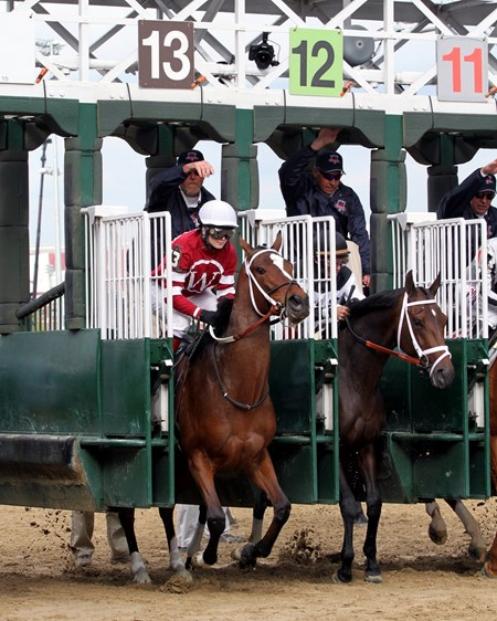 Untapable, with Rosie Napravnik up, leave the starting gate at Churchill Downs on May 2, 2014 in the Kentucky Oaks.