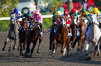 Kent Desormeaux and Dullahan come from deep in the pack at the final to win the 88th Running of The Toyota Blue Grass Stakes. (#6 - green cap, emerald and yellow squares. 2nd from right)