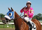 Apprentice jockey Jonathan Zayas celebrates win number one.