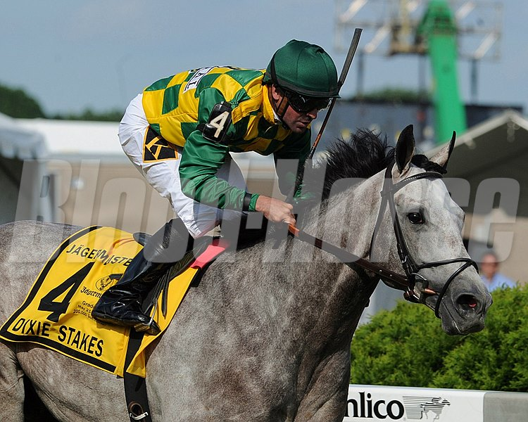 Paddy O'Prado, Kent Desormeaux up, wins the Dixie Stakes at Pimlico Race Track, Baltimore, MD May 20, 2011.