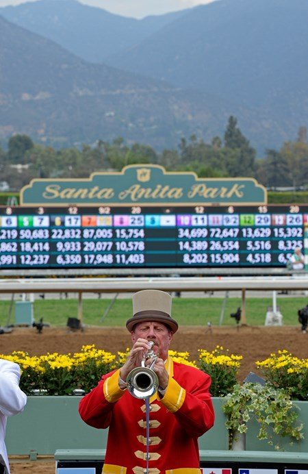 Caption: Jay Cohen track bugler