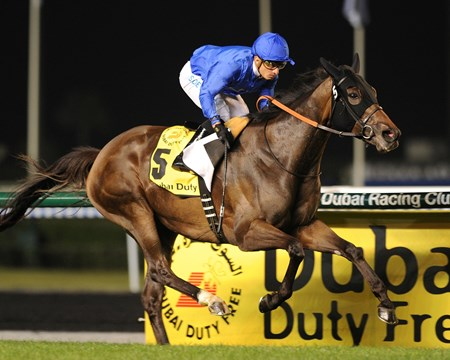 Sajjhaa running in the Dubai Duty Free with Silvestre De Sousa up on Dubai World Cup day March 30, 2013.