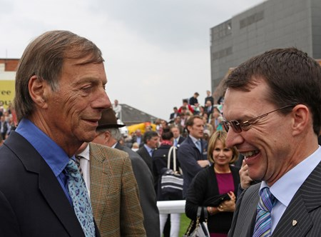 Sir Henry Cecil (left) and Aidan O'Brien after Frankel's victory in The Lockinge Stakes at Newbury  May 19, 2012.