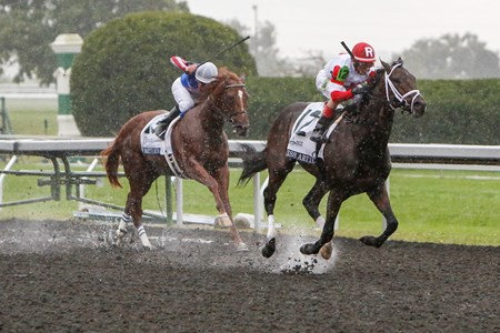 We Miss Artie caught front-runner Smarty's Echo in the stretch and shook clear to win the $400,000 Grade I Dixiana Breeders' Futurity for 2-year-olds in an upset at Keeneland.