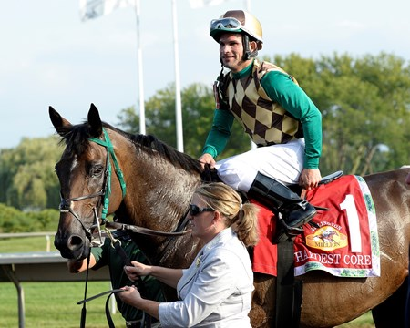 Hardest Core with Eriluis Vaz wins the ARlington Million. Aug. 16, 2014